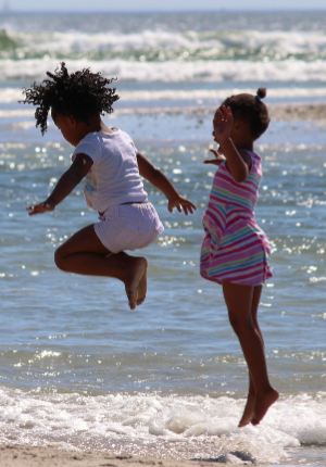 Children playing in the water